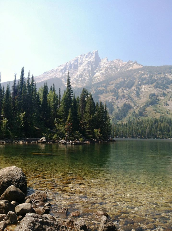 Jenny Lake shore with a Teton mountain in the background